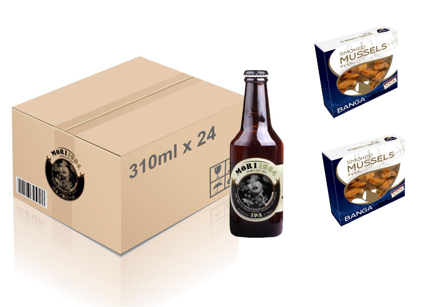 Mori 1984 - Nihon Kai IPA 手工啤酒 310ml x 24 枝(一箱)+ Banga 烟燻油浸青口 120g (2 罐)